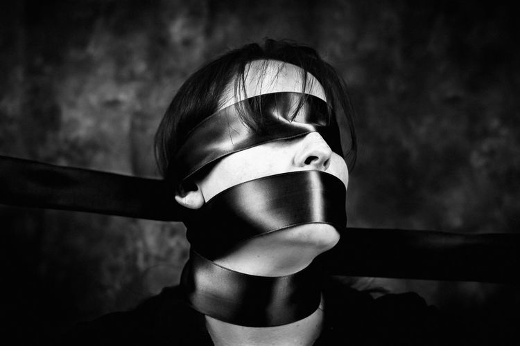 Bound... Philosophical Monochrome EyeEm Bnw Blackandwhite Conceptual Portrait Darkart Mysterious Ribbon Surrealism