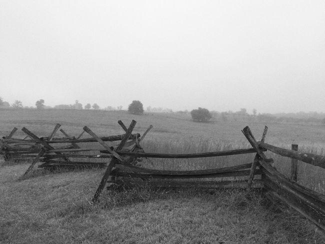 Antietam, Sharpsburg, MD Civil War Battlefield History Split Rail Fence Fence Black And White Black&white