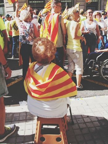 Outdoors Adult Leisure Activity Day People Women Real People Catalunya City Catalunyalove Catalonia Patriotism Catalunya Independent Cultures Celebration Flag Traditional Festival Multi Colored Indepencia Diada This Is Aging Focus On The Story