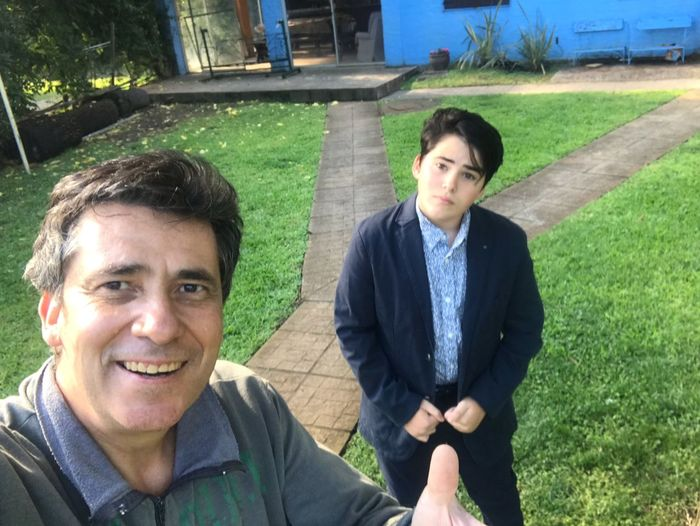 Childs growth! Two People Real People Young Men Plant Front View Portrait Togetherness Young Adult Men Looking At Camera Nature Lifestyles Leisure Activity Smiling Grass Day Casual Clothing People Adult Bonding