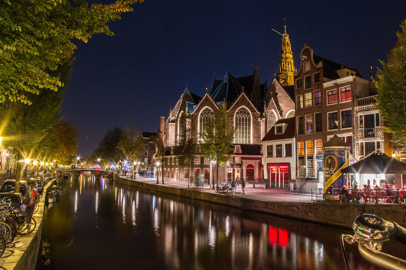 Amsterdam Bridges Church Cityscape Netherlands Night Lights Architecture Built Structure Canals City Holland Illuminated Oude Kerk Reflection Water