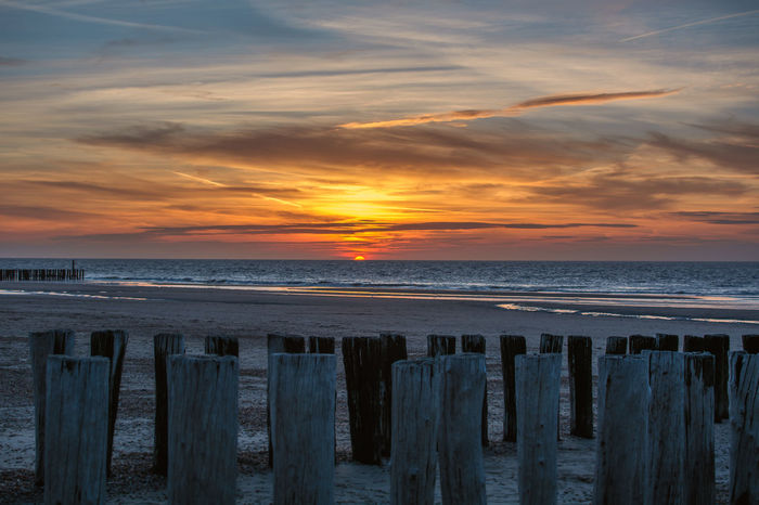 Beach Beauty In Nature Cloud - Sky Day Horizon Over Water Nature No People Outdoors Sand Scenics Sea Shore Sky Sunset Tranquil Scene Tranquility Water Wooden Post Domburg  Domburg, Nederland