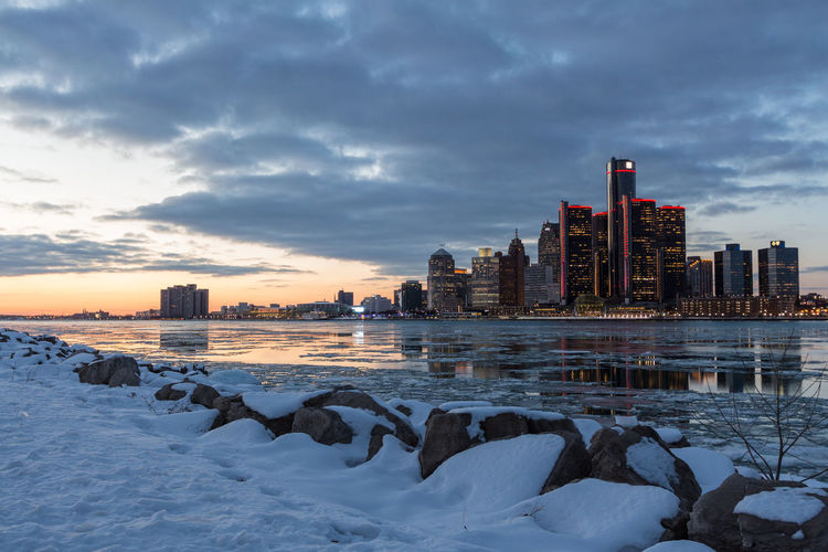 City At Waterfront During Winter