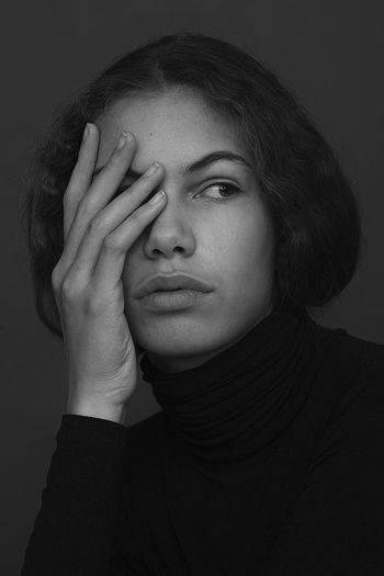 Portrait Of A Woman Adult Black And White Blackandwhite Close-up Day Headshot Human Hand Indoors  Model One Person People Portrait Studio Shot Young Adult