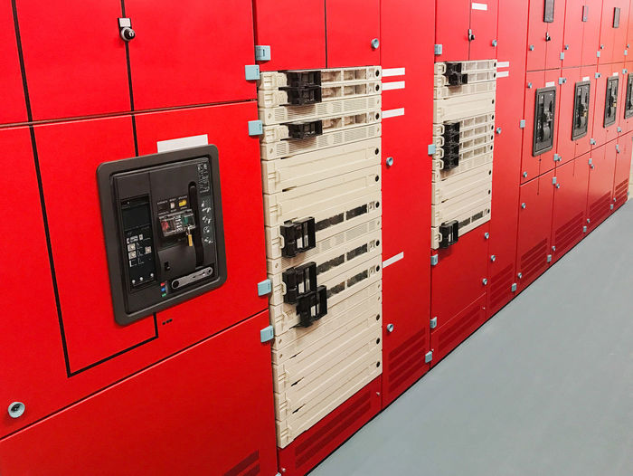 Close-up of red electricity meter