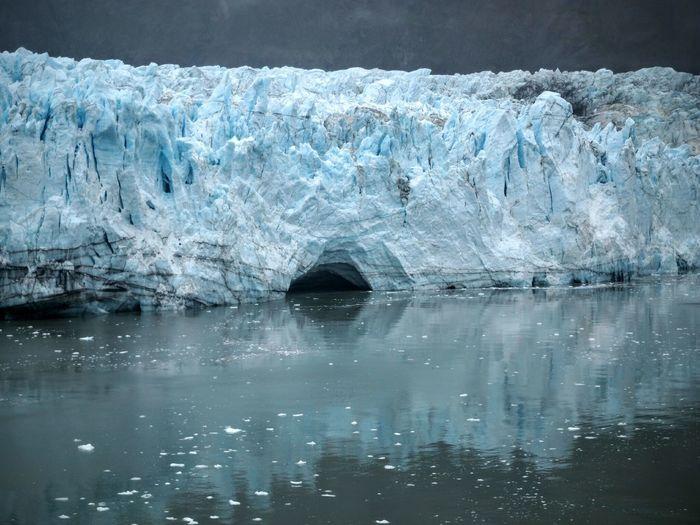 Glacier boulder ice by lake