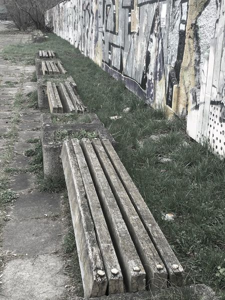 Architecture Bench Building Exterior Fence Grass Neglected Architecture No People Old Outdoors Stone Wall Wood - Material