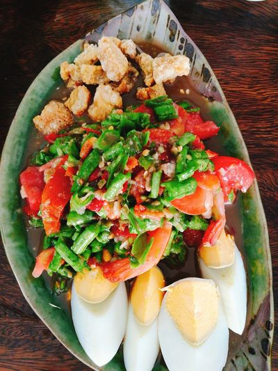 Thaifood Plate Table Healthy Lifestyle High Angle View Vegetable Chopped Close-up Food And Drink