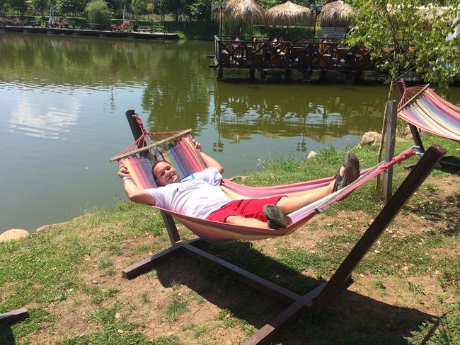 Boat Day Grass Hammock Hammocking High Angle View Lake Leisure Activity Nature Outdoors Park - Man Made Space Relaxation River Sitting Tranquility Tree Water