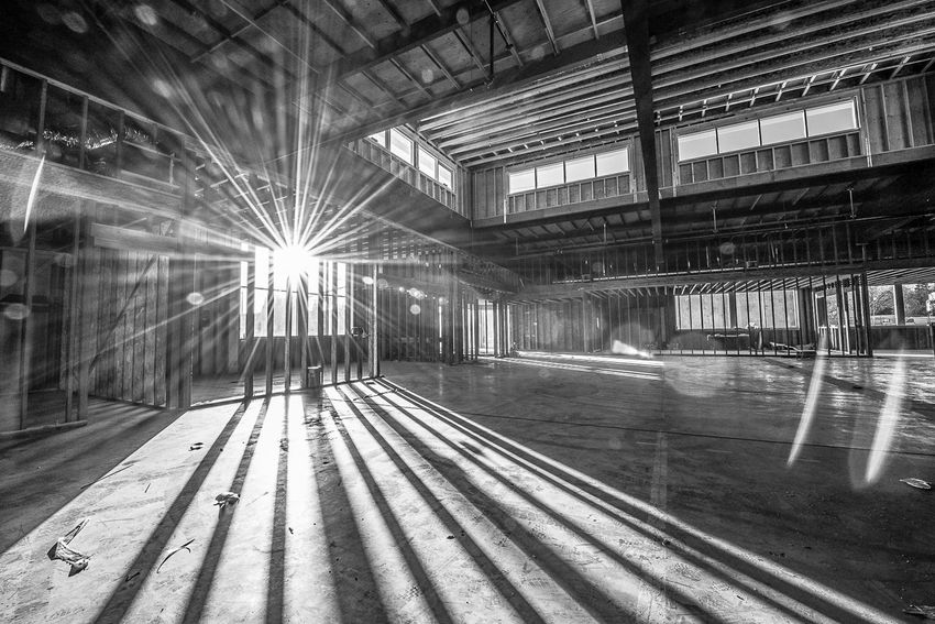 Architectural Column Architecture Blackandwhite Building Built Structure City Life Construction Empty Illuminated Interior Lens Flare Modern No People Potential  Renovation Structure Vacant Warehouse