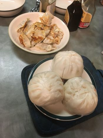 Asian Food Dumplings Pot Stickers Pork Buns Food Freshness Ready-to-eat Bowl Close-up Meal Indulgence Breakfast Lunch Dinner Part Of Elevated View