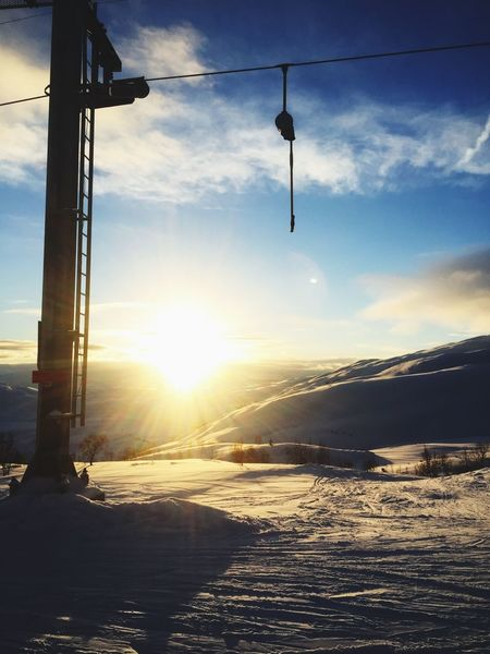 Sogndal Norway Sunset Hitting The Slopes Offpiste Cold Skiing
