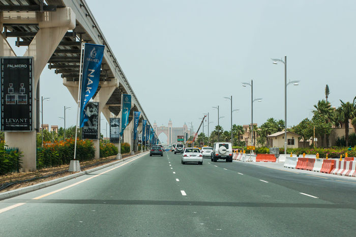 Marina Dubai Transportation Road Car Motor Vehicle Architecture Mode Of Transportation Built Structure Land Vehicle City Street Building Exterior Sky Connection Bridge Day Bridge - Man Made Structure Sign The Way Forward on the move Nature No People Outdoors