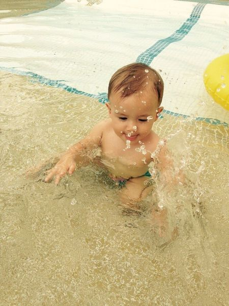 Baby Sweemingpool Having Fun Waterdrops Enjoying Life Sweet