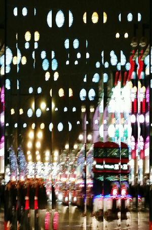 London Lifestyle Illuminated Multi Colored Night London City Bus Doubledeckerbus Oxford Street  Christmaslights