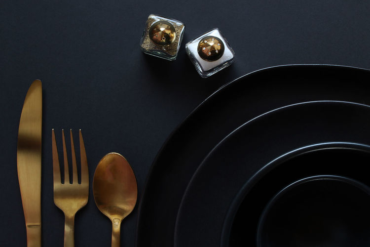 High angle view of food on table against black background