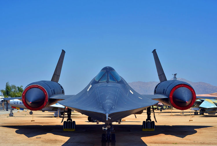 Black Beauty Blue Clear Sky Day Empty Jet Plane Military Plane Nature No People Outdoors Skunkworks Sky SR71 Blackbird Stationary Sunny Supersonic Plane Tourism Travel Destinations