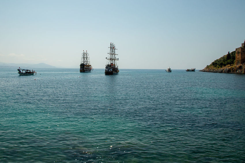 Pirate Ships Alanya Mediterranean  Mediterranean Sea Turkey Anchored Beauty In Nature Clear Sky Clear Waters Emeraldcoast Horizon Horizon Over Water Mode Of Transportation Nature Nautical Vessel Pirate Ship Sailboat Sailing Scenics - Nature Sea Ship Sky Tranquil Scene Transportation Water Waterfront