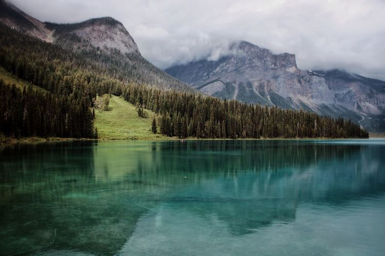 Yoho National Park Scenics Reflection Landscape Beauty In Nature Outdoors Canada Tranquility British Columbia Emerald Lake Travel Destinations Travel View Serenity Amazing Reflections In The Water Clear Water Water Tree Mountain Fog Lake Mountain Peak Snowcapped Mountain Reflection Rocky Mountains Dramatic Sky Dramatic Landscape Atmospheric Mood Moody Sky The Great Outdoors - 2019 EyeEm Awards