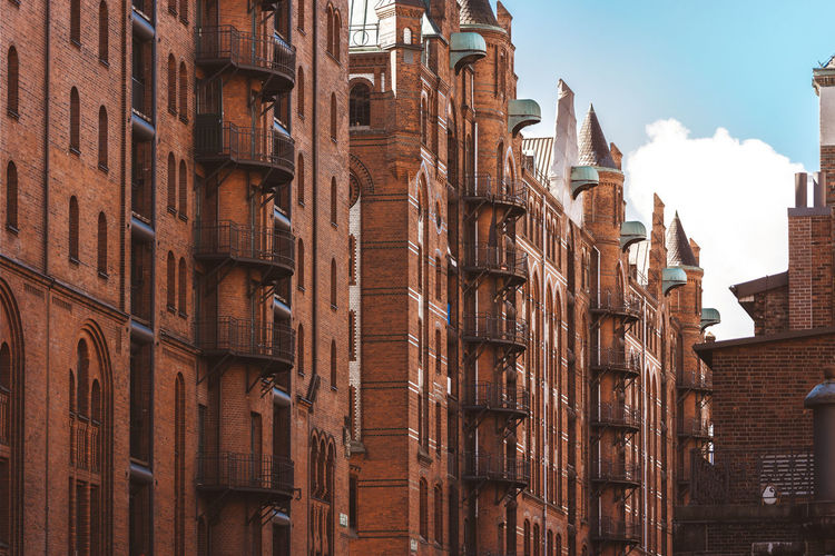 Historic old town hafencity in germany, hamburg. old brick buildings that serve as a trading place