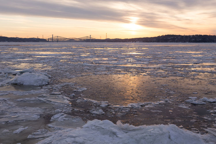 Scenic view of frozen river against sky during sunset