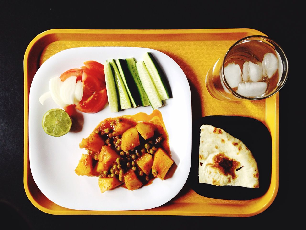 Food served in tray on table
