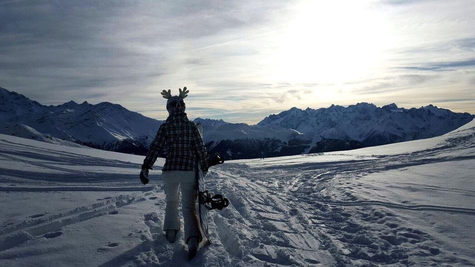 Deer Mountains Sunset Switzerland Snowboarding Farewell