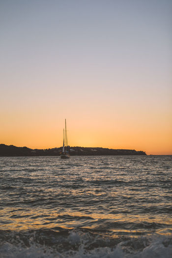 Lost In The Landscape Beauty In Nature Clear Sky Day Nature Nautical Vessel No People Outdoors Sailboat Sailing Scenics Sea Sky Sunset Tranquil Scene Tranquility Travel Destinations Water Waterfront