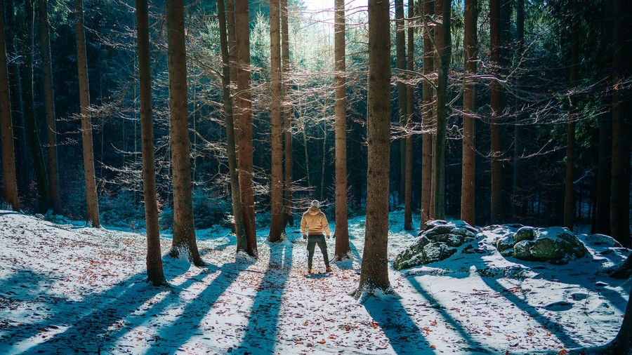 Full length of man standing on snow covered land in forest