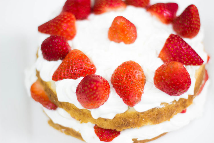 High Angle Close-Up Of Strawberry Cake