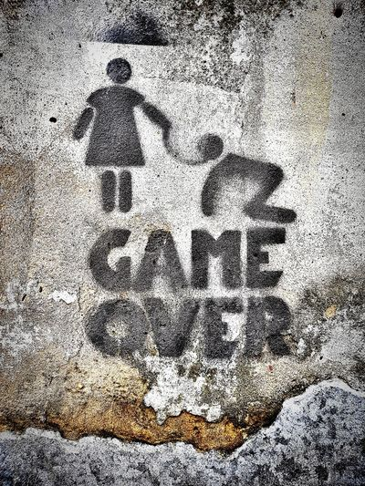 game over Game Over Submissive Masochism Submissive Attitude Obedience Obedient Subjection Subjective Master Slave Slavery Slavery Still Exists Feminism Ink Full Frame Textured  Abstract Black Color Close-up Grunge Painted Image Spray Paint Weathered Peeling Off Scratched Distressed