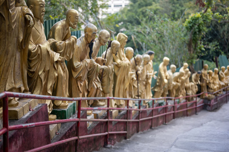 Statues in a row