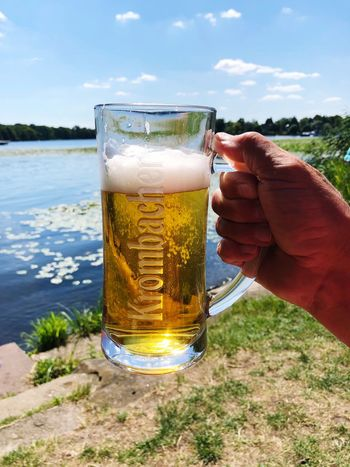 Havel Potsdam IPhone X Photography IPhone X Beer Summertime Summer Drink Refreshment Hand Beer Food And Drink Human Hand Drinking Glass Glass Beer - Alcohol Alcohol Close-up Human Body Part Freshness One Person Beer Glass Holding Nature Sky Household Equipment Day Summer Road Tripping