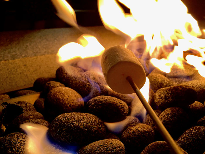Gimme s'mores Dude! Bonfire Burning Close-up Flame Heat - Temperature Marshmallow Night S'more S'mores! Traditional