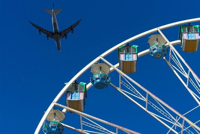 Airplane Amusement Park Blue Clear Sky Ferris Wheel Hessentag Low Angle View Outdoors