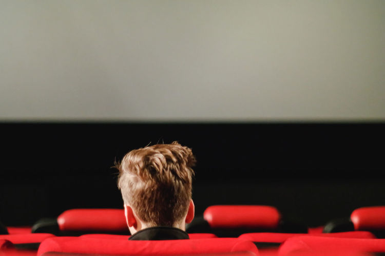 Rear View Of Boy Sitting On Chair In Theatre