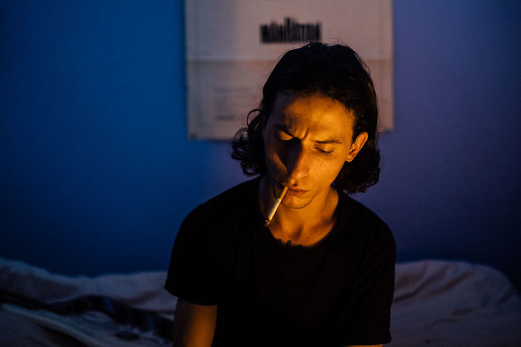 Colors Smoke Autoportrait Bed Bedroom Blue Close-up Indoors  Lifestyles Light And Shadow Night Photography Selfportrait Warm