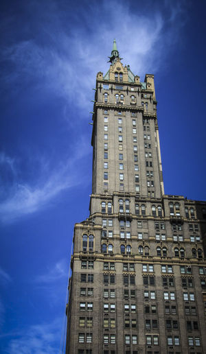 New York Architecture Building Exterior Built Structure Tower Building Low Angle View Sky Blue Tall - High Clock Tower City Travel Destinations Clock History The Past No People Travel Time Day Nature Outdoors Apartment Gothic Style