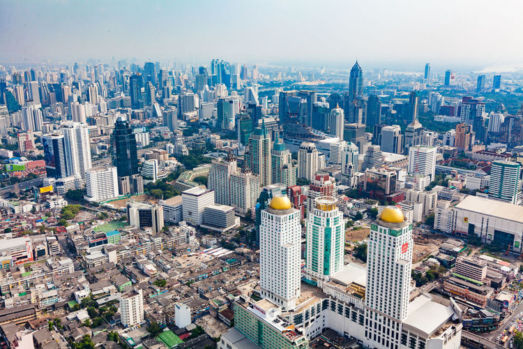 Bangkok Aerial View Architecture Building Exterior Built Structure City Cityscape Day High Angle View Modern No People Outdoors Sky Skyscraper Tower Travel Destinations Urban Skyline