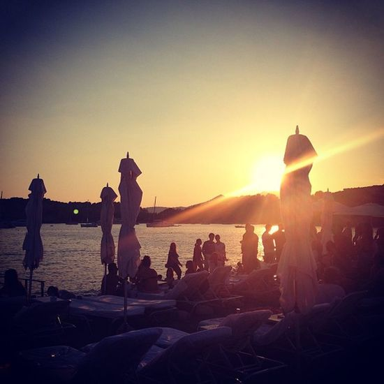 My favourite kind of Sunday. Ibiza SPAIN Beach Beauty In Nature Blue Marlin Clear Sky Day Enjoyment Fun Large Group Of People Leisure Activity Lifestyles Nature Outdoors Sea Silhouette Sky Sun Sunlight Sunset Vacations Water