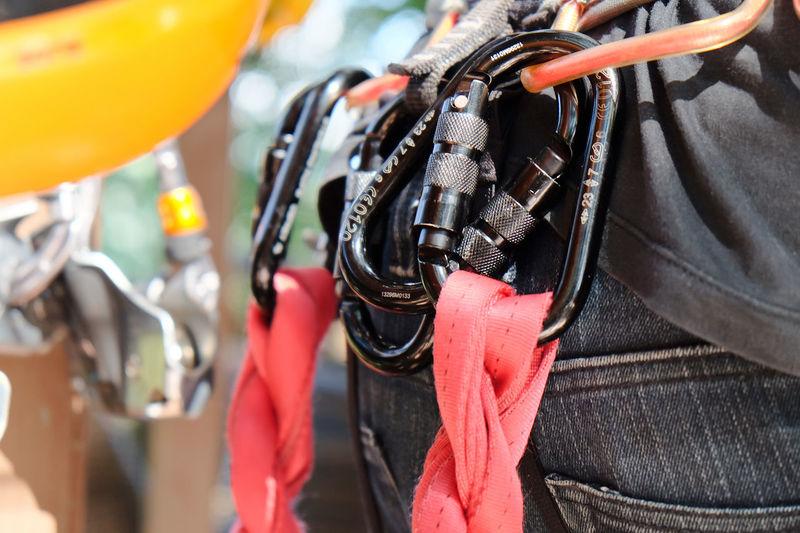 Climbing gear,Detail of Rock climbing equipment Climbing Gear Belayer Belaying Climbing Climbing Equipment Equipment Extreme Sports Hanging Outdoors Rock Climbing ☺ Safety Sport Equipment