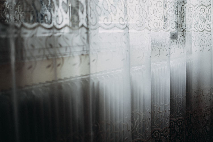 window curtains Architecture Art And Craft Backgrounds Built Structure Close-up Curtain Day Domestic Room Floral Pattern Full Frame Glass - Material In A Row Indoors  Large Group Of Objects No People Pattern Repetition Selective Focus Textile Wall - Building Feature White Color