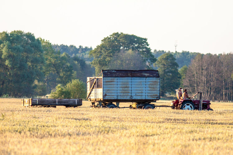Tractor And Trailer On Field Against Trees At Farm