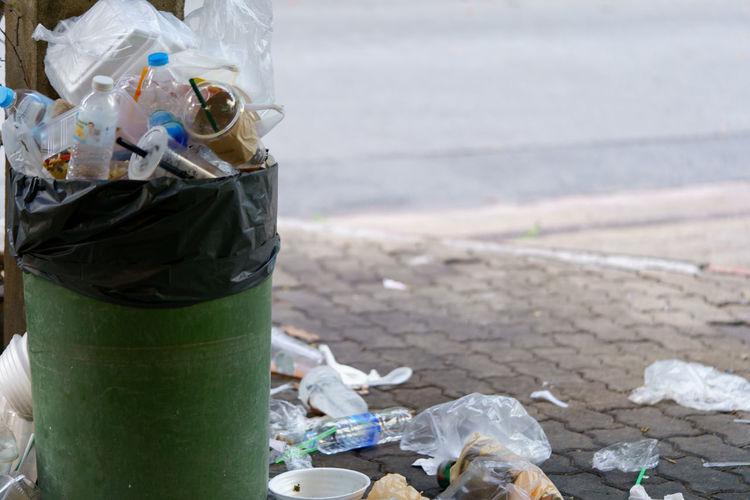 Close-up of garbage bottle