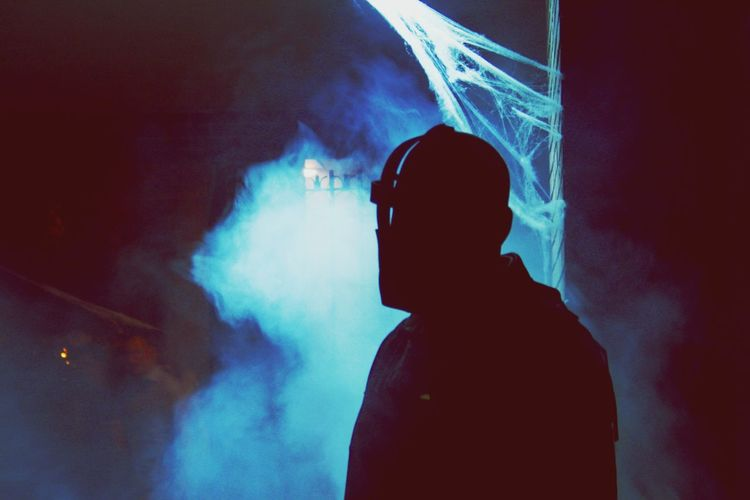 Smoke - Physical Structure Real People One Person Silhouette Men Leisure Activity RISK Danger Lifestyles Addiction Indoors  Night Sky Close-up Adult People Halloween Fresh On Market 2017