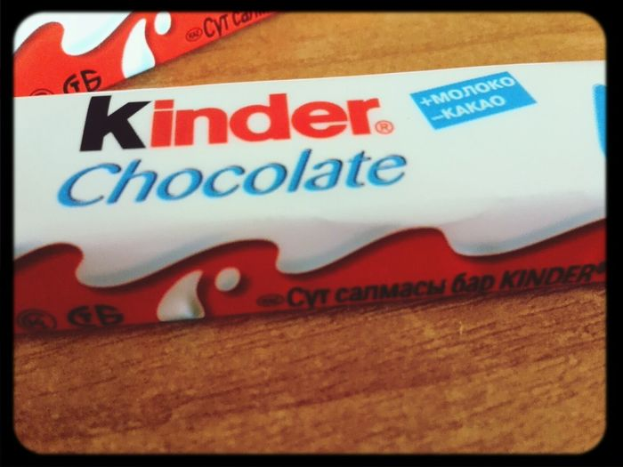 Kinder chocolate.