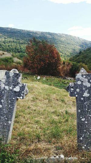 Ancient Day Outdoors No People Nature Grass Sky Cemetary Cross Historic Bosnia And Herzegovina Beauty In Nature Green Color Nature View