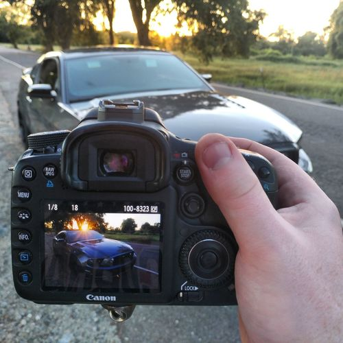 Car Human Hand Holding Camera - Photographic Equipment One Man Only Close-up One Person Streetcarweekly Ford Ford Mustang Pony Cars Muscle Car American Muscle Photography Photooftheday California Sunset Sky Road