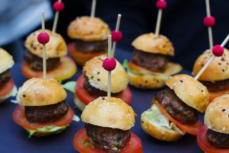 Close-up of burger appetizers