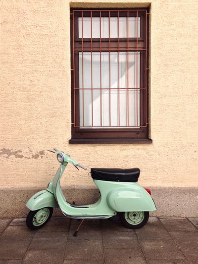 Transportation Window Land Vehicle Parking Mode Of Transport Wall Motor Scooter Stationary Day The Past Parked Man Made Object History No People Mood Urban Retro Vespa Walking Around Simple Things Soft Colours Colour Of Life Italian Style